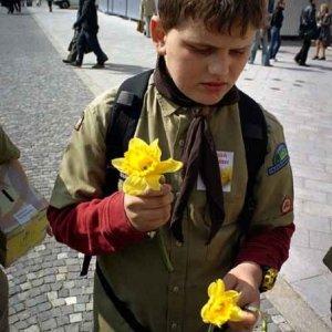 Denis rozdáva kvety